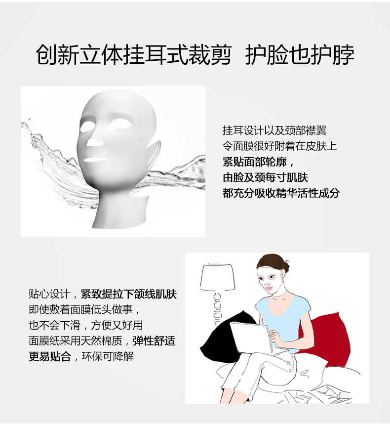 创新立体挂耳式裁剪 护脸也护脖